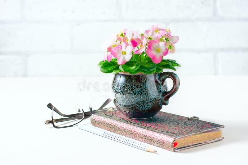 Czysty notatnika, eyeglasses, menchii i Białego Afrykański fiołek na bielu stole od above, obraz stock
