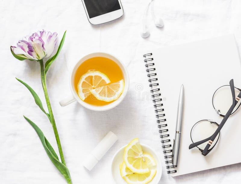 Czysty pusty notatnik, zielona herbata z cytryną, tulipanowy kwiat na białym tle, odgórny widok Mieszkanie nieatutowy obrazy stock