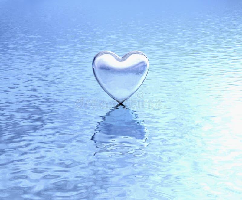 Czysty serce na wodnym odbiciu zdjęcie stock