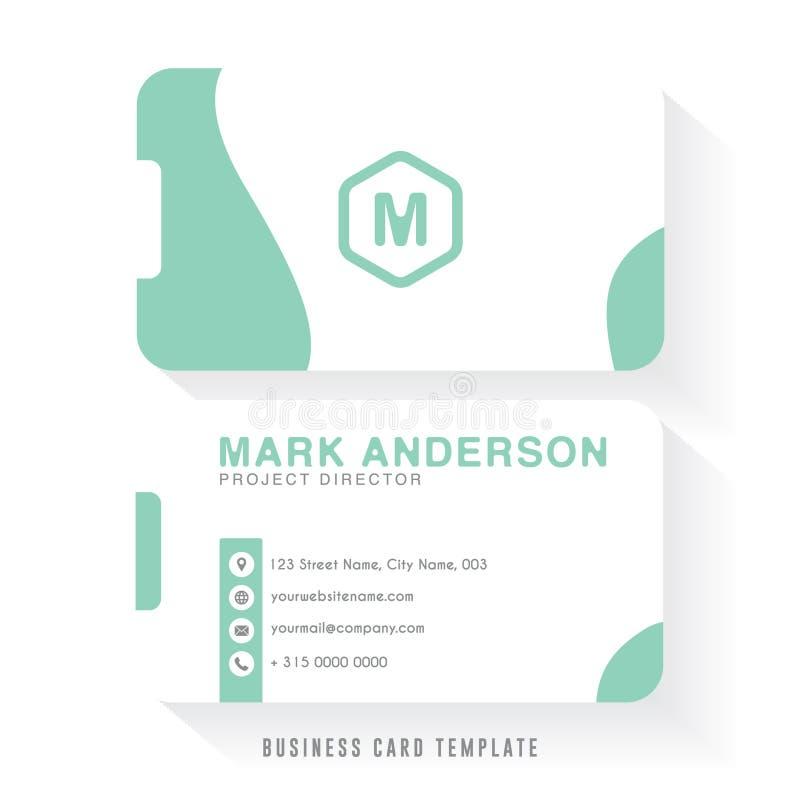 Czysty wizytówka szablonu projekt z białego i zielonego koloru kombinacją Firmy wizytówki szablon royalty ilustracja