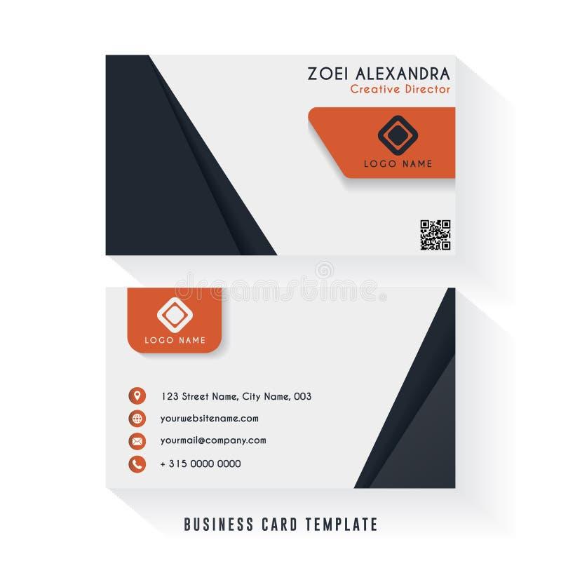 Czysty wizytówka szablonu projekt z minimalistyczną kolor kombinacją Firmy wizytówki szablon ilustracji