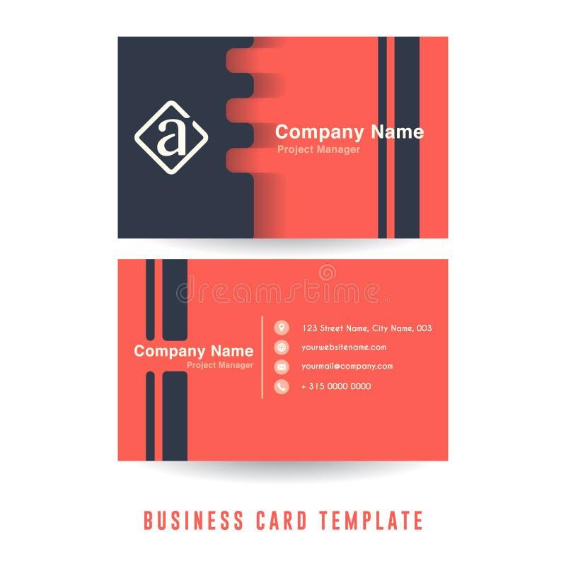 Czysty wizytówka szablonu projekt z minimalistyczną kolor kombinacją Firmy wizytówki szablon royalty ilustracja