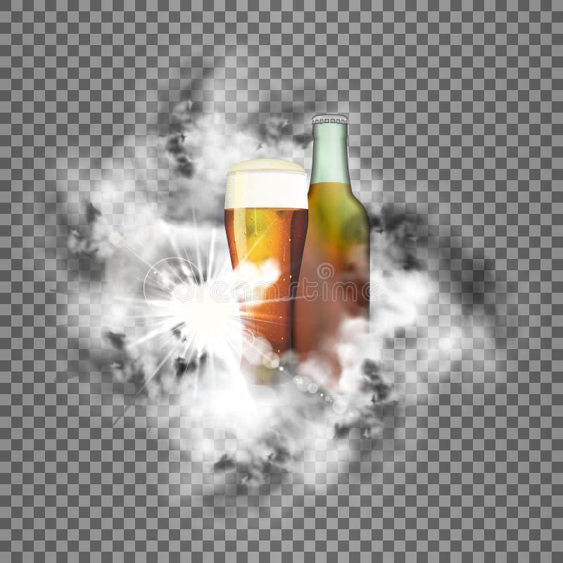 Czysty zielony szkło piwo z przezroczystością i butelka ilustracji