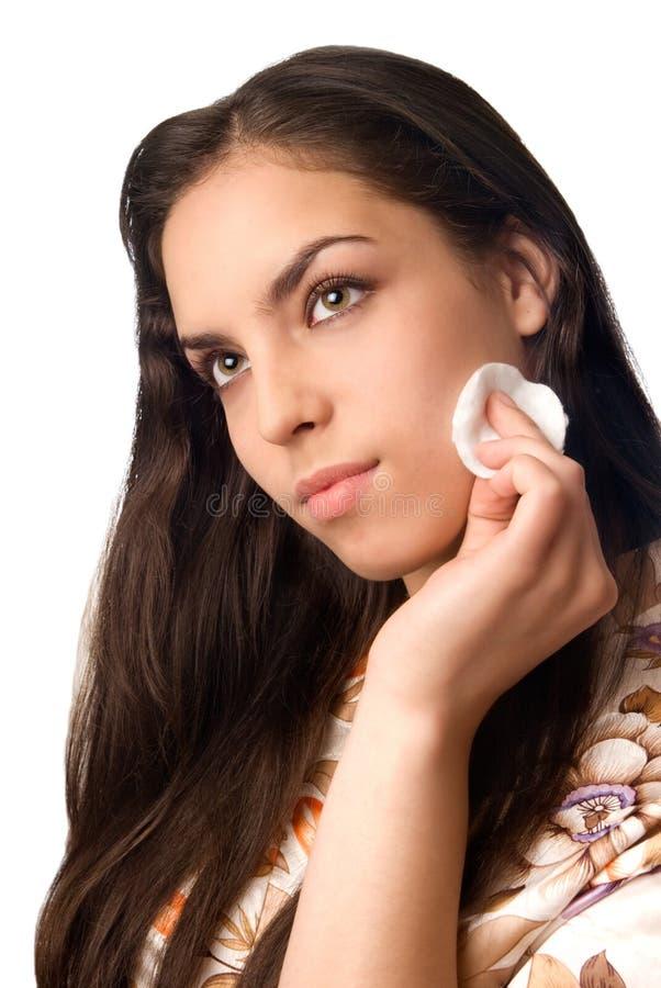 czyszczenie makijaż fotografia stock