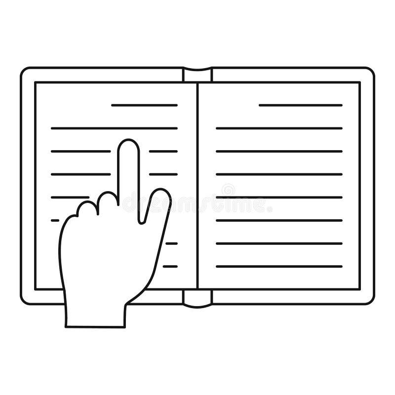 Czytająca książkowa ikona, konturu styl royalty ilustracja