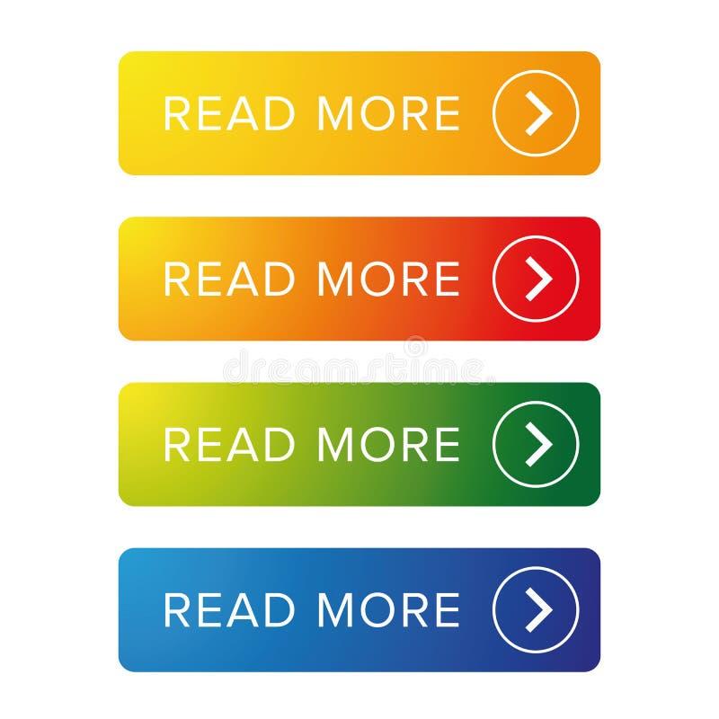 Czytający kolorowy guzika set ilustracja wektor
