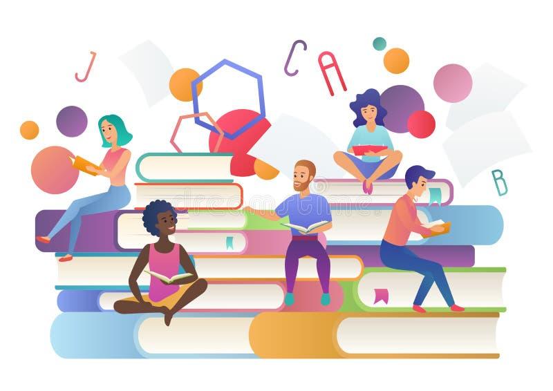 Czytający książki pojęcie Edukacji, szkoły, nauki i literatury ludzie, Książkowa festiwalu logo wektoru ilustracja royalty ilustracja