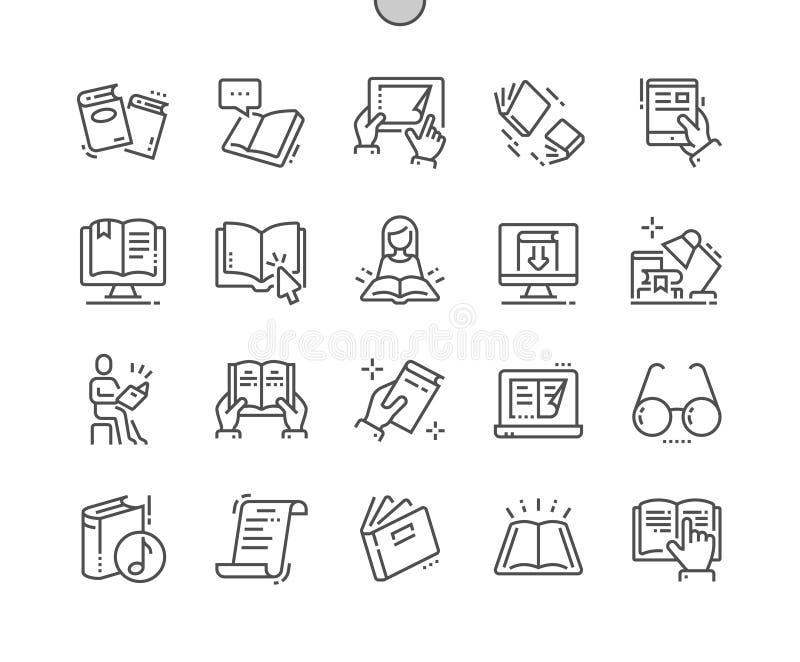 Czytający Wykonującemu ręcznie pikslowi Perfect wektor Cienka Kreskowa ikon 30 2x siatka dla sieci Apps i grafika royalty ilustracja
