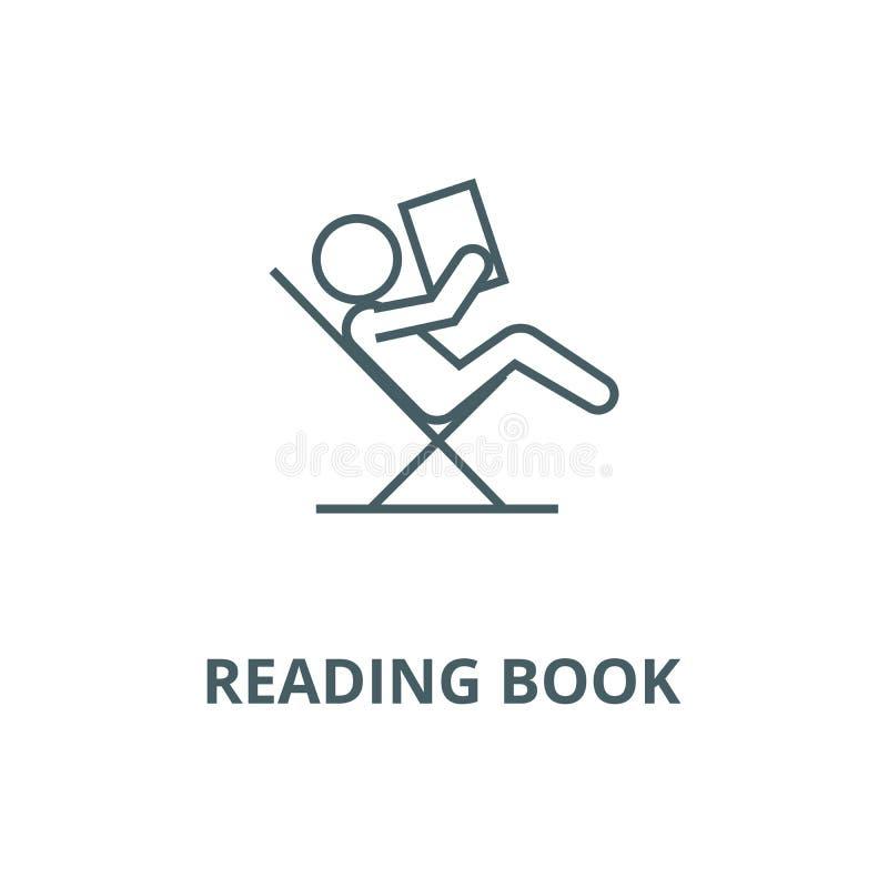 Czytelnicza książka, siedzi w krzesło wektoru linii ikonie, liniowy pojęcie, konturu znak, symbol ilustracji