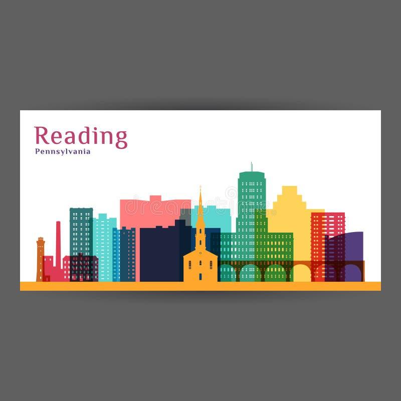 Czytelniczego miasta, Pennsylwania architektury sylwetka ilustracji