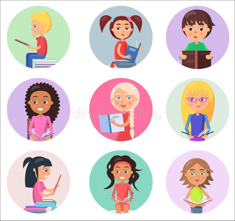 Czytelniczy dzieci w Round ikonach Odizolowywać na bielu royalty ilustracja