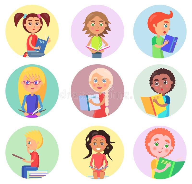 Czytelniczy dzieci w Round ikonach Odizolowywać na bielu ilustracja wektor