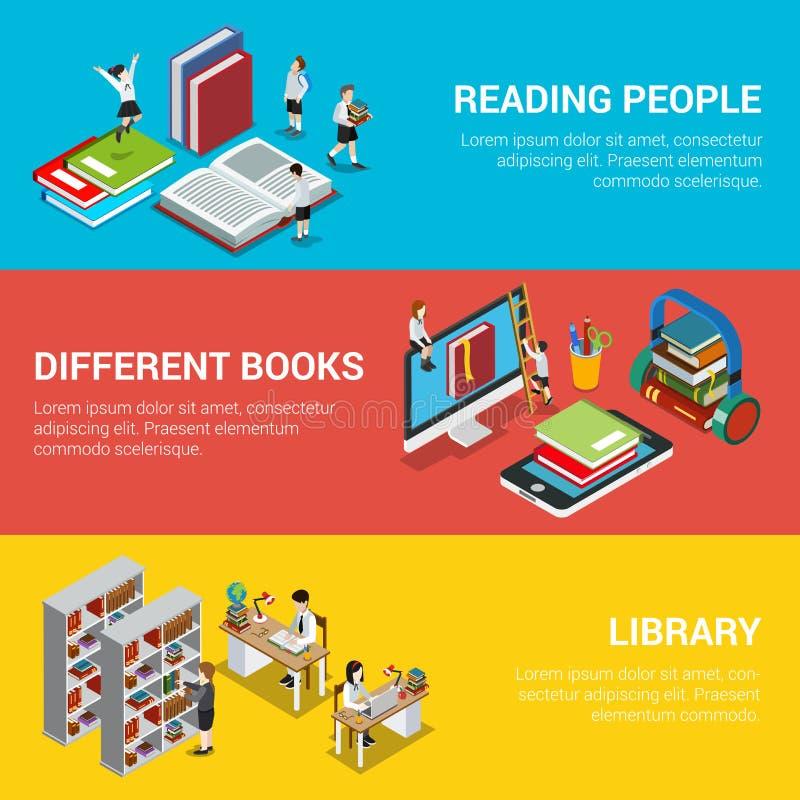 Czytelniczy ludzie różny książkowy biblioteki 3d mieszkania isom royalty ilustracja