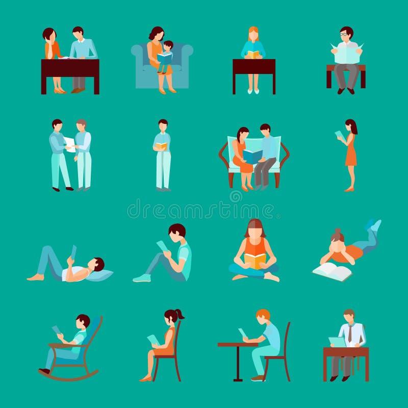 Czytelniczy ludzie Ustawiający ilustracja wektor