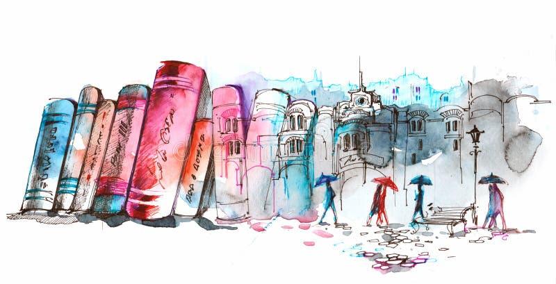 Czytelniczy miasto ilustracja wektor