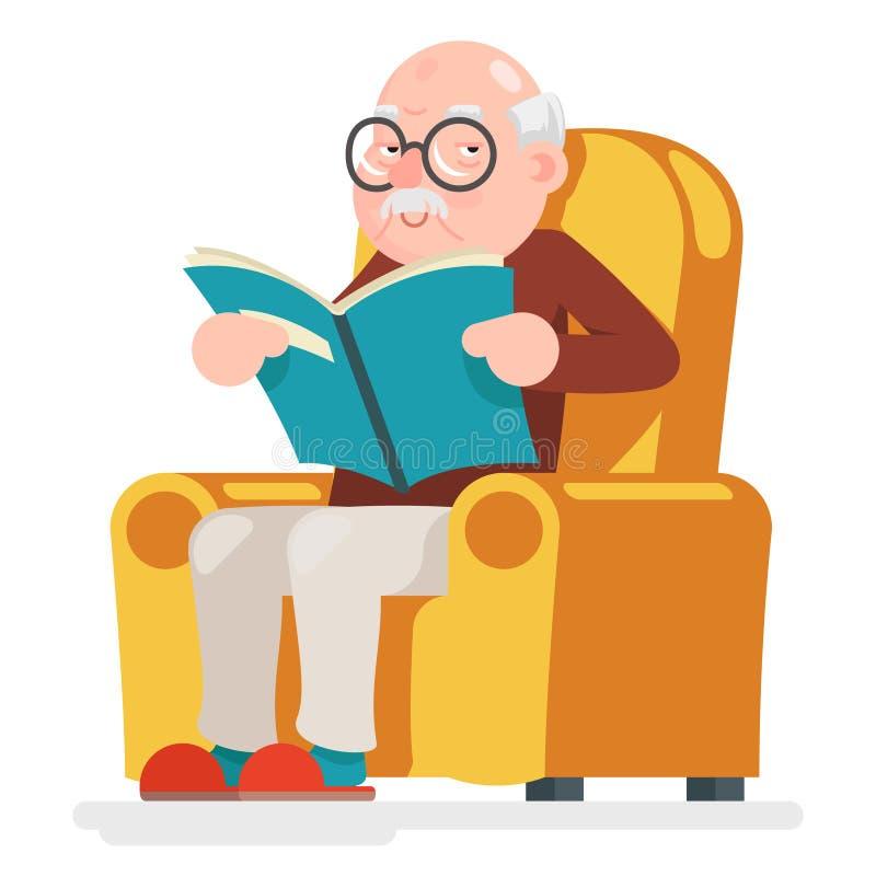 Czytelniczy starego człowieka charakter Siedzi Dorosłą ikony kreskówki projekta wektoru ilustrację ilustracji