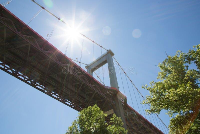D'Aquitaine di Pont il ponte sospeso sopra la Garonna immagini stock libere da diritti