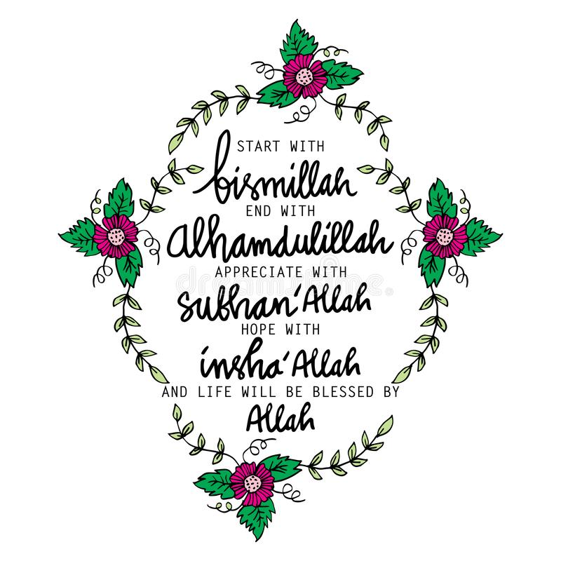 Début avec Bismillah, extrémité avec Alhamdulillah, illustration stock
