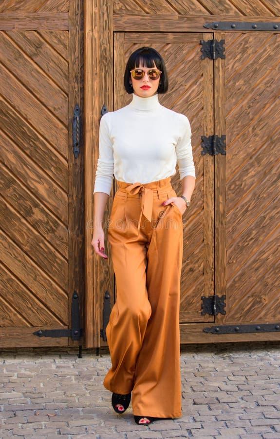 Dünne große Dame der modernen Ausstattung Mode- und Artkonzept Frauenweg in den losen Hosen Frau moderner Brunette lizenzfreie stockfotos