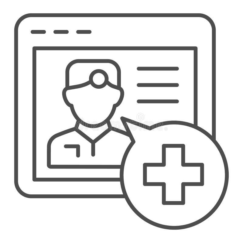 Dünne on-line-Linie Ikone der medizinischen Beratung Medizinische Stützvektorillustration lokalisiert auf Weiß Doktoron-line-Entw stock abbildung