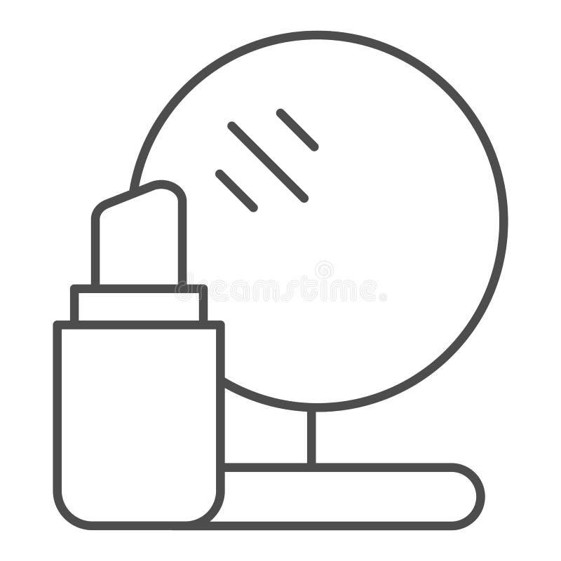 Dünne Linie Ikone des Lippenstifts und des Spiegels Make-upvektorillustration lokalisiert auf Weiß Kosmetikentwurfs-Artdesign vektor abbildung