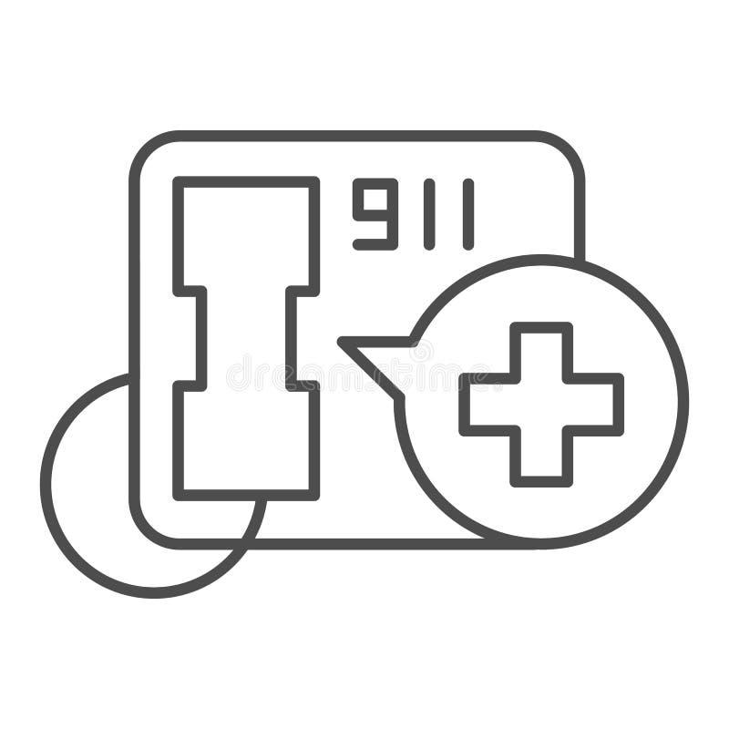 Dünne Linie Ikone des Notrufs 911 Stützvektorillustration lokalisiert auf Weiß Telefonanruf-Entwurfsartentwurf stock abbildung