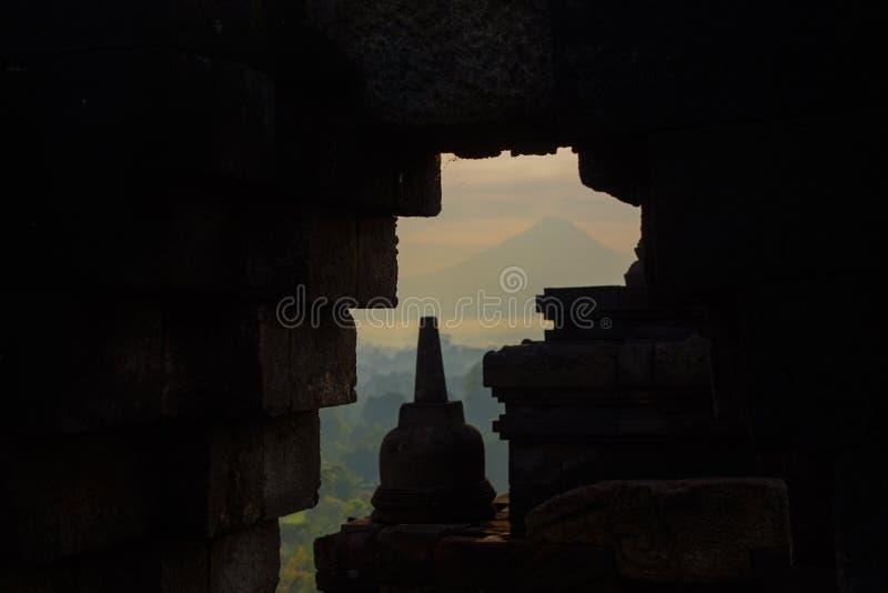DÃa di EL del durante di Templo de Borobudur, Yogyakarta, Java, Indonesia fotografia stock