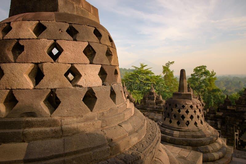 DÃa di EL del durante di Templo de Borobudur, Yogyakarta, Java, Indonesia fotografie stock libere da diritti