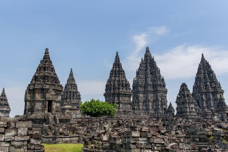 DÃa för Templo de Borobudur duranteel, Yogyakarta, Java, Indonesien arkivbilder