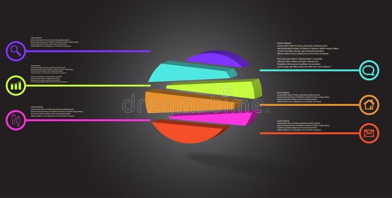 3D与压印的圈子的例证infographic模板任意地被划分对六被转移的部分 库存例证