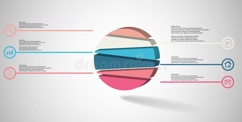 3D与压印的圈子的例证infographic模板任意地被划分对六部分 库存例证