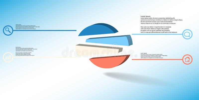3D与压印的圈子的例证infographic模板任意地被划分对四被转移的部分 皇族释放例证