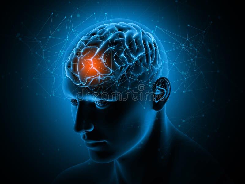 3D与脑子的医疗背景突出了 向量例证