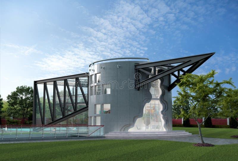 3D一个未来派豪华房子的例证 向量例证