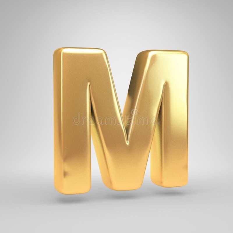 3D信件M大写 在白色背景隔绝的发光的金黄字体 图库摄影