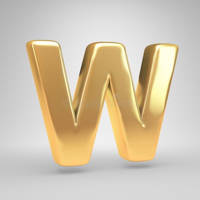 3D信件W大写 在白色背景隔绝的发光的金黄字体 免版税库存图片