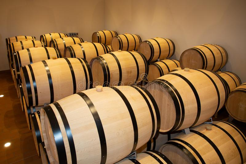 Dąb baryłki w podziemnym wino lochu zdjęcia stock