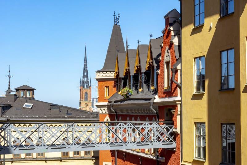 Dächer von Stockholm, Schweden stockfotos