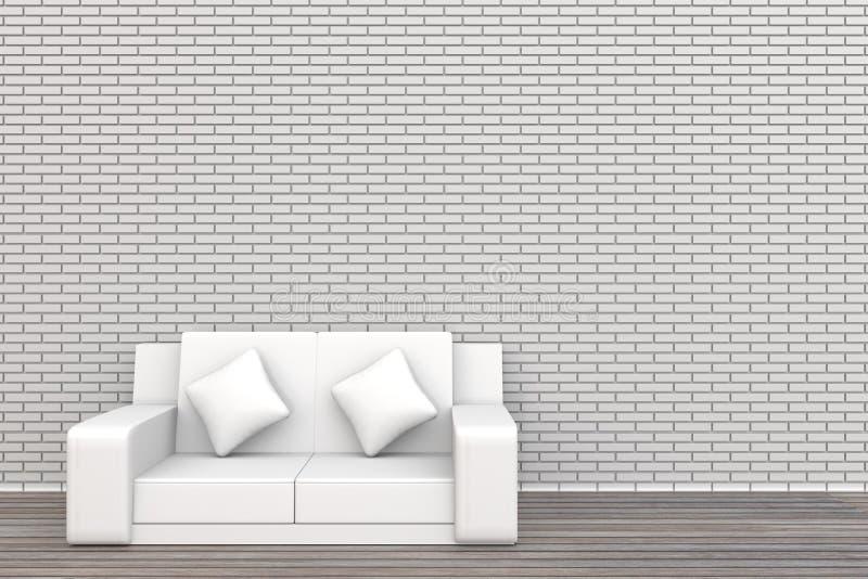 däckar den vitt tegelstenväggen och trä för soffa 3d bakgrund arkivbild