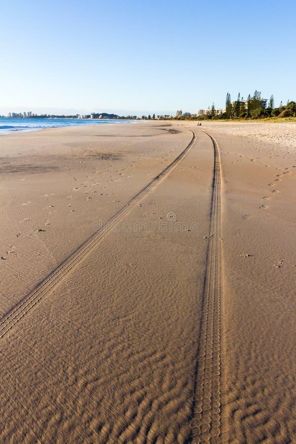 Däckspår i sanden, surfares Paradise, Gold Coast, Queensland, Australien fotografering för bildbyråer