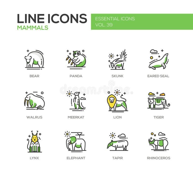 Däggdjur - linje designsymbolsuppsättning stock illustrationer