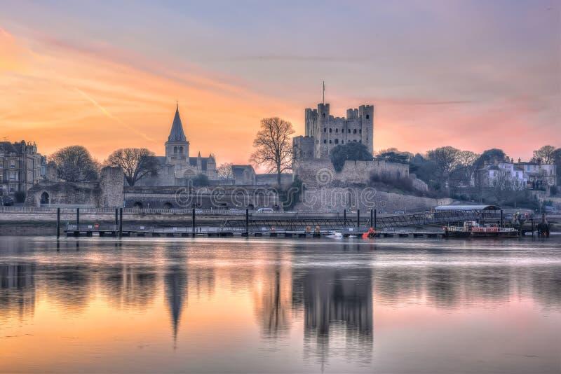 Dämmerung über historischem Rochester lizenzfreies stockbild
