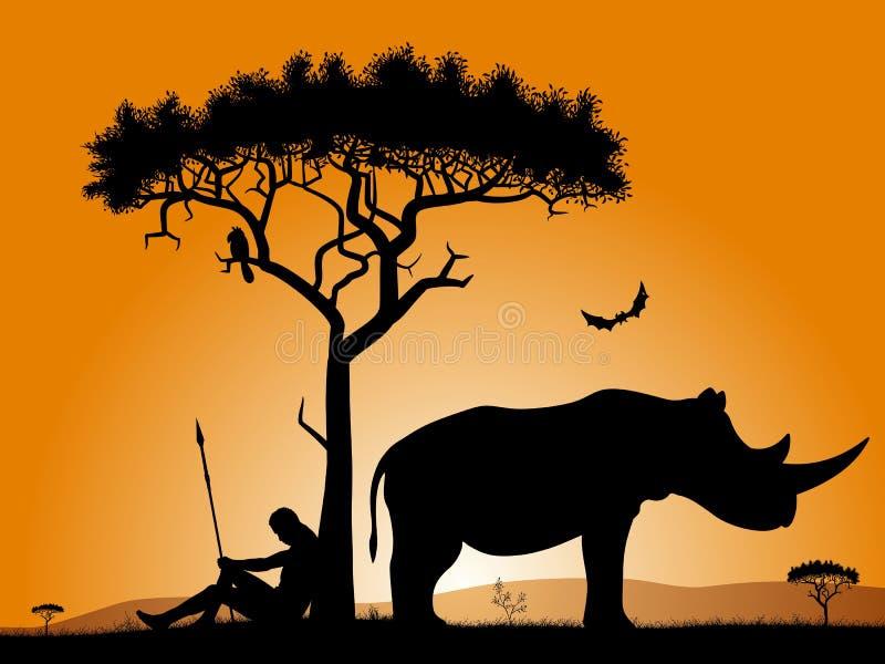 Dämmerung in Afrika vektor abbildung