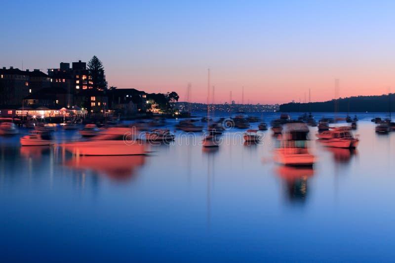 Dämmerung auf Sydney-Hafen stockfoto