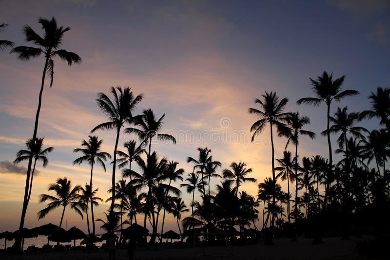 Dämmerung in Meer in der Dominikanischen Republik lizenzfreie stockfotografie