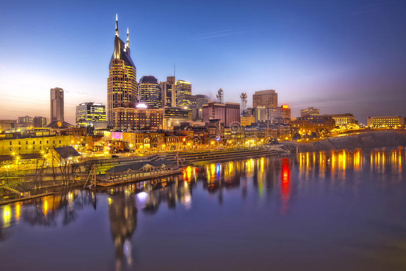 Dämmerung Nashville-, Tennessee stockfotografie