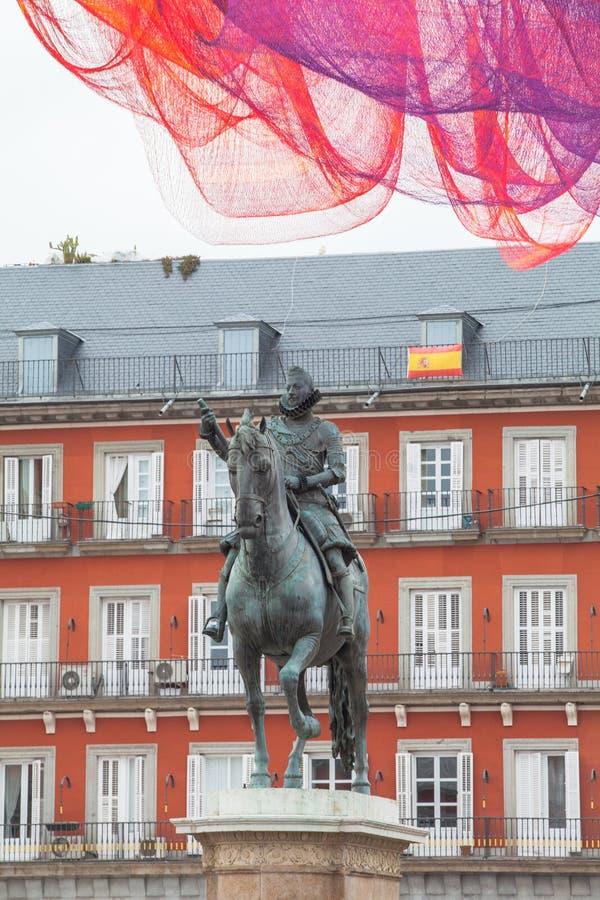 Dämmerung Piazza-Bürgermeisters Madrid lizenzfreie stockfotografie