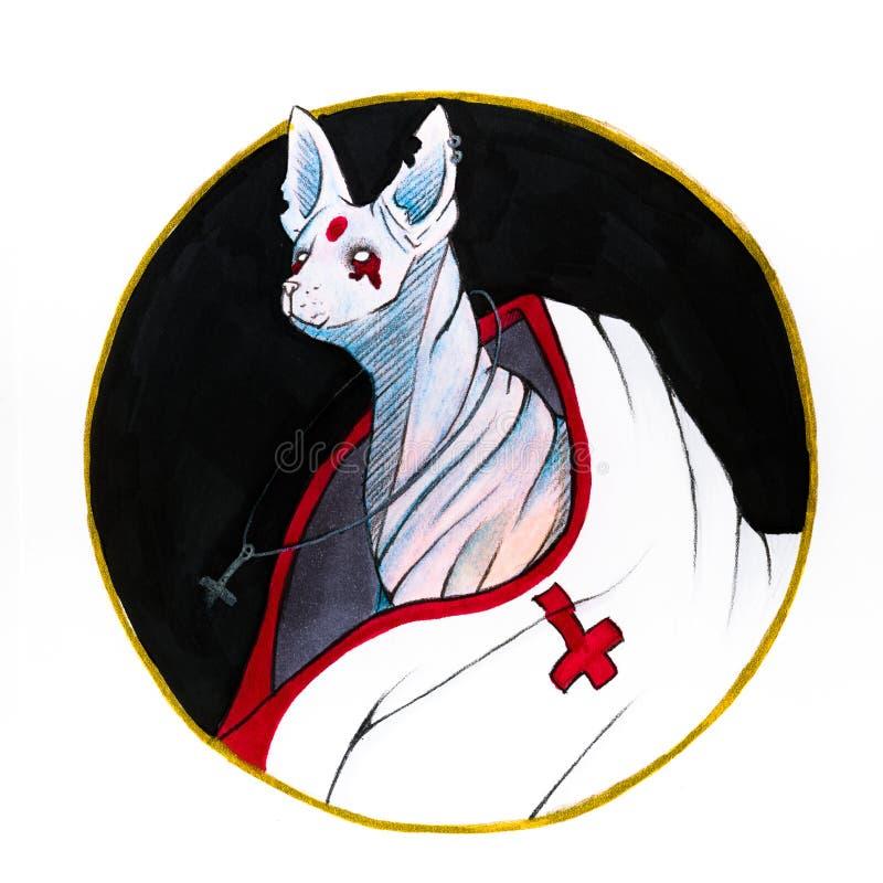 Dämon sphynx Katze, die Katze der satans im Kreis vektor abbildung