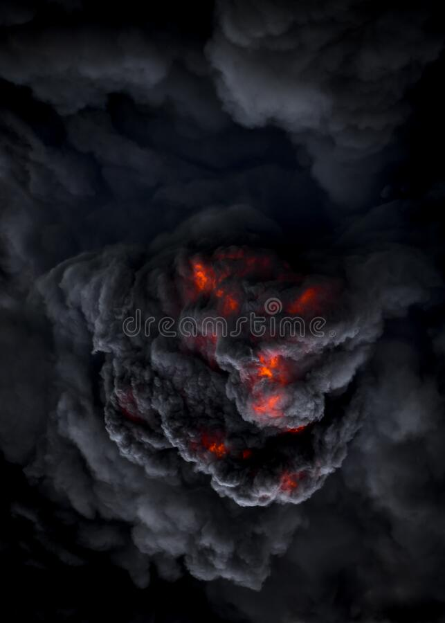 Dämonenähnliches Gesicht bei einem Vulkanausbruch mit pyroklastischer Strömung lizenzfreies stockbild