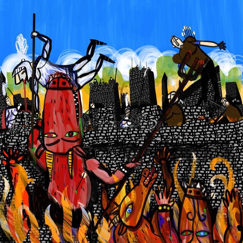 Dämonen steigen eine Wand und Angriffe stock abbildung
